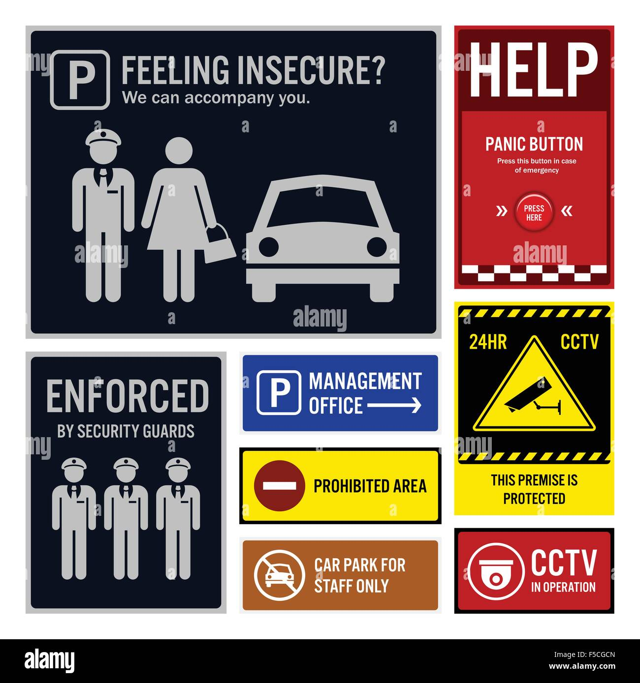 Car Park Safety and Security Signs Signboards - Stock Image