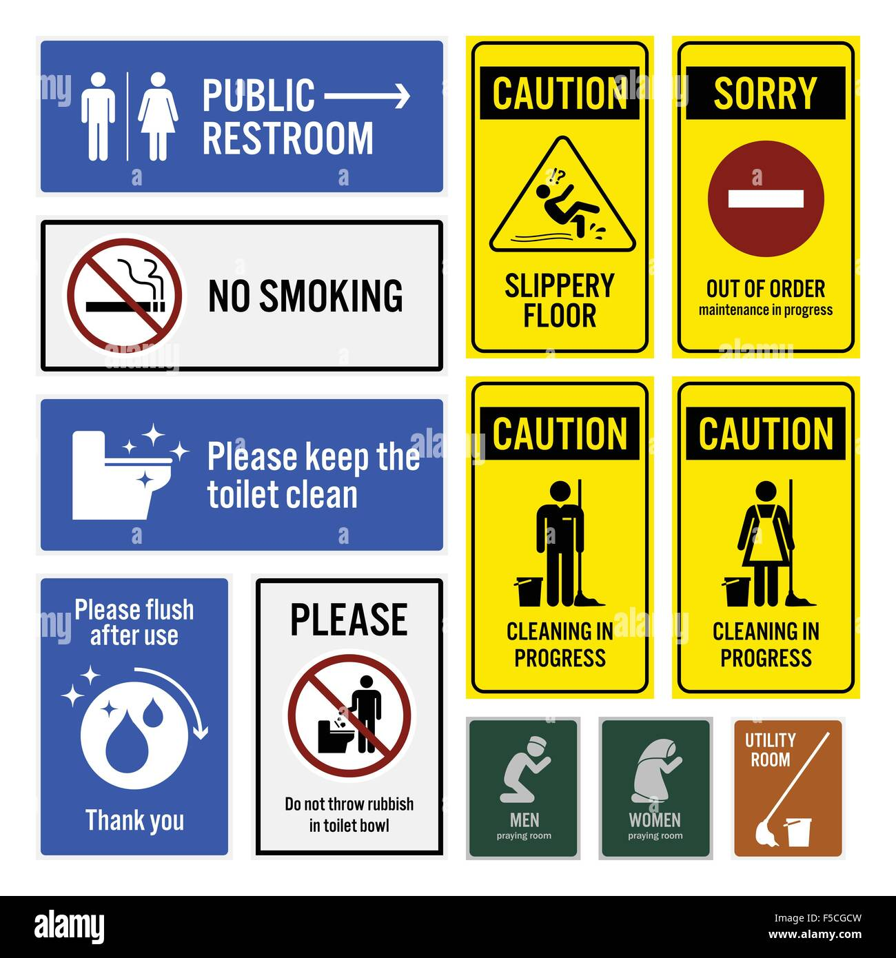 Toilet Notice and Restroom Warning Sign Signboards - Stock Image
