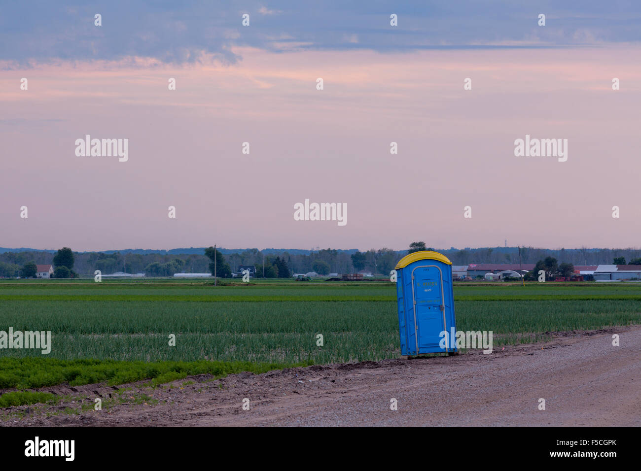 A roadside porta potty  in the Holland Marsh at sunset. King Township, Ontario, Canada. - Stock Image