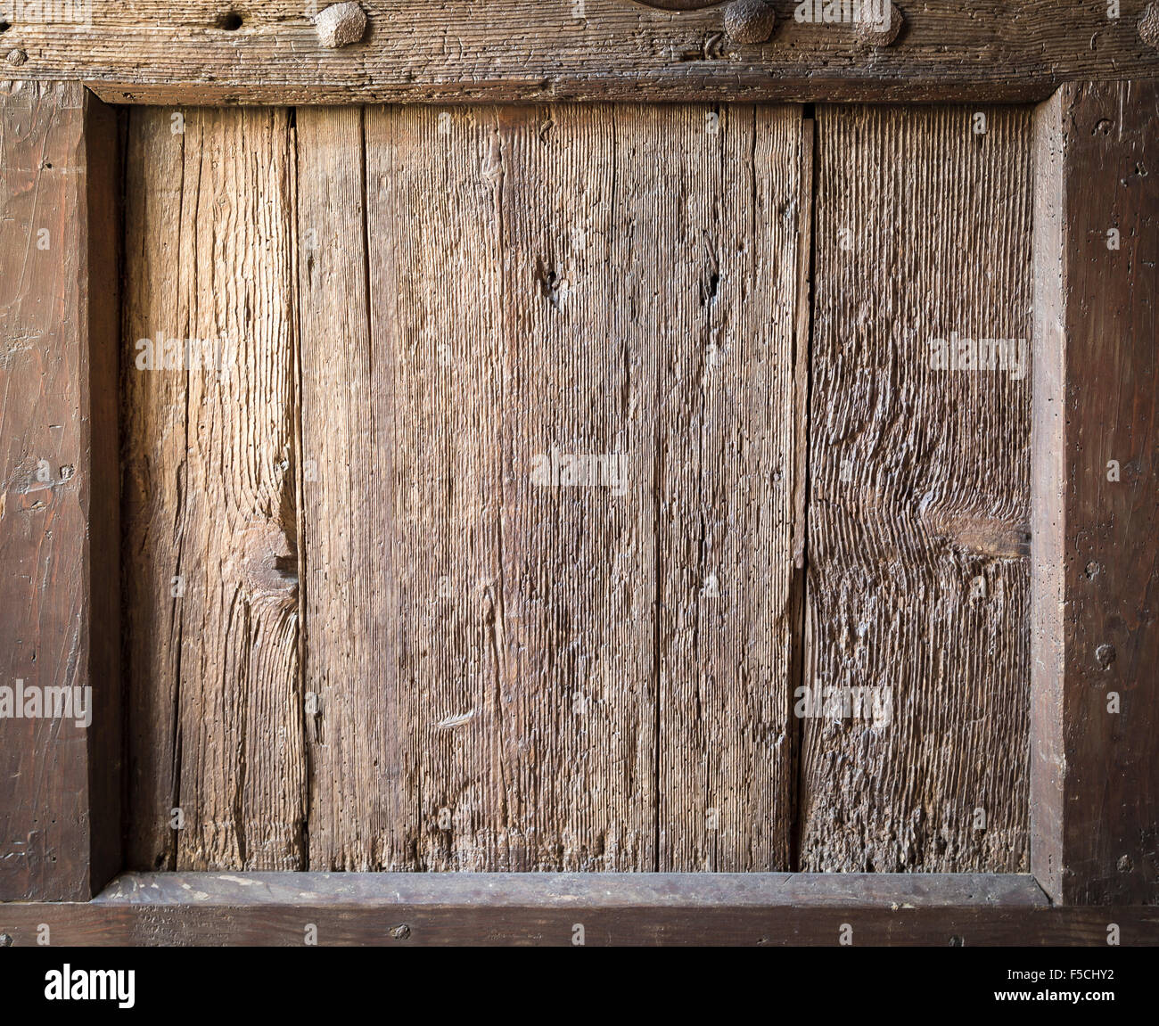 Rustic wood frame with vintage effect - Stock Image