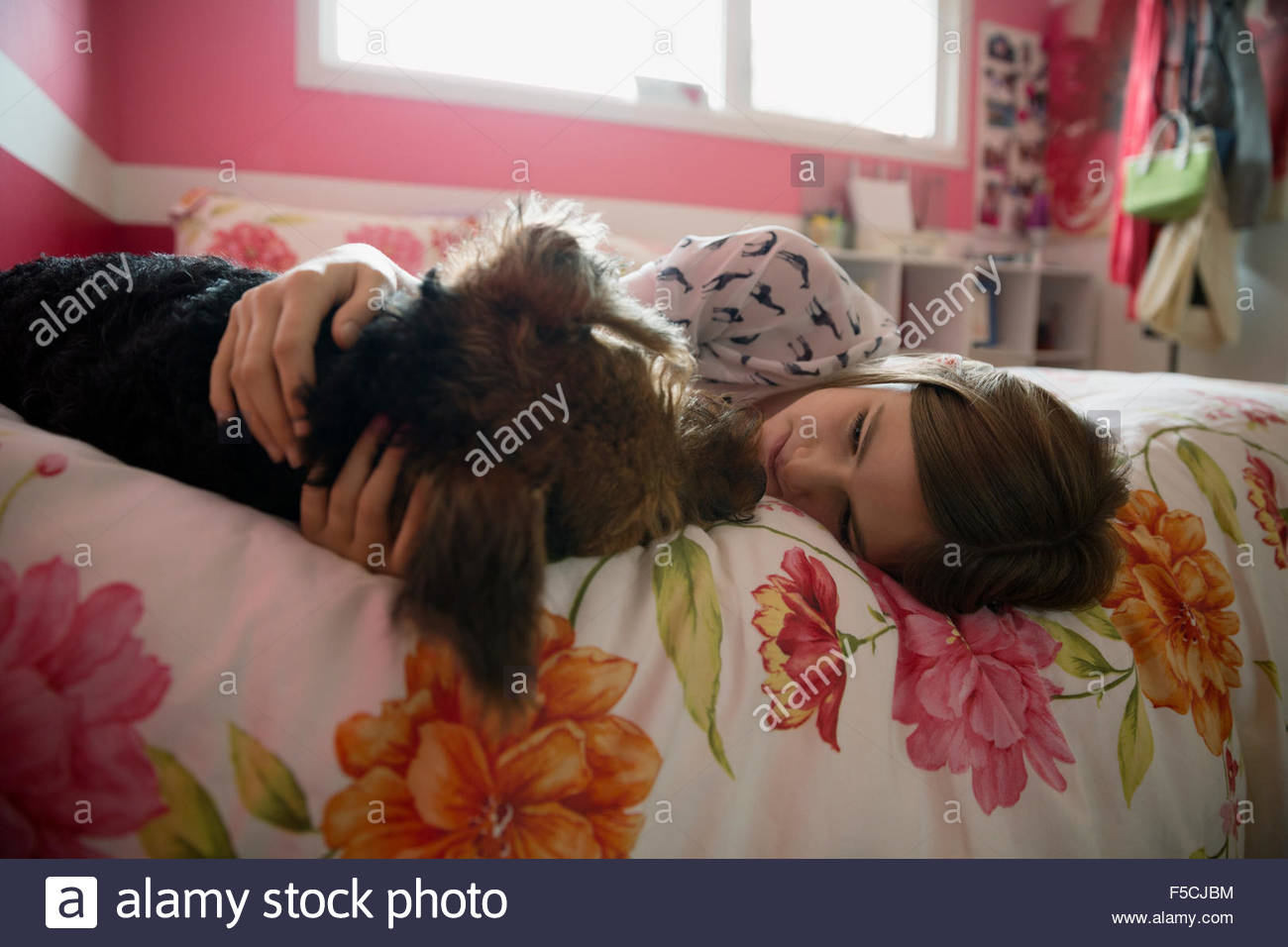 Girl cuddling dog face to face on bed - Stock Image