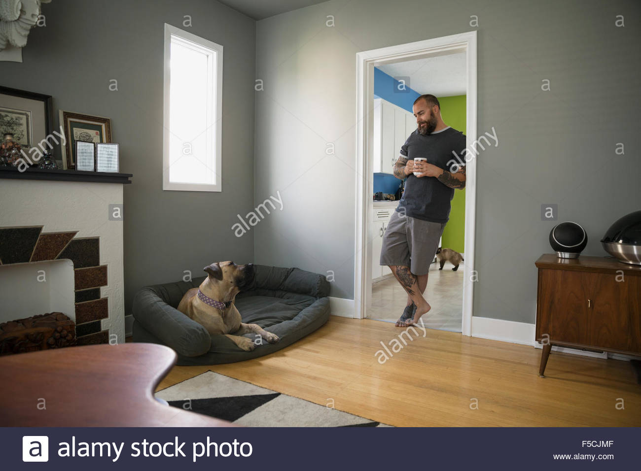 Man with coffee doorway looking down at dog - Stock Image