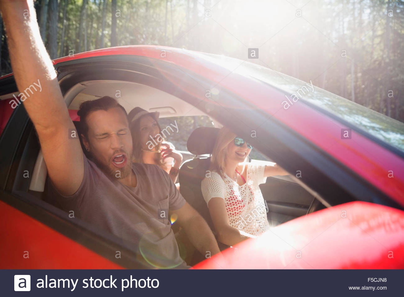 Enthusiastic friends singing and cheering in car - Stock Image