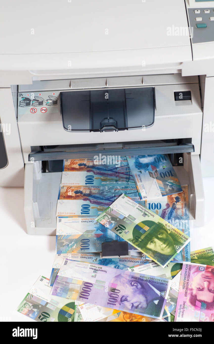 Printer printing fake Swiss francs, currency of switzerland