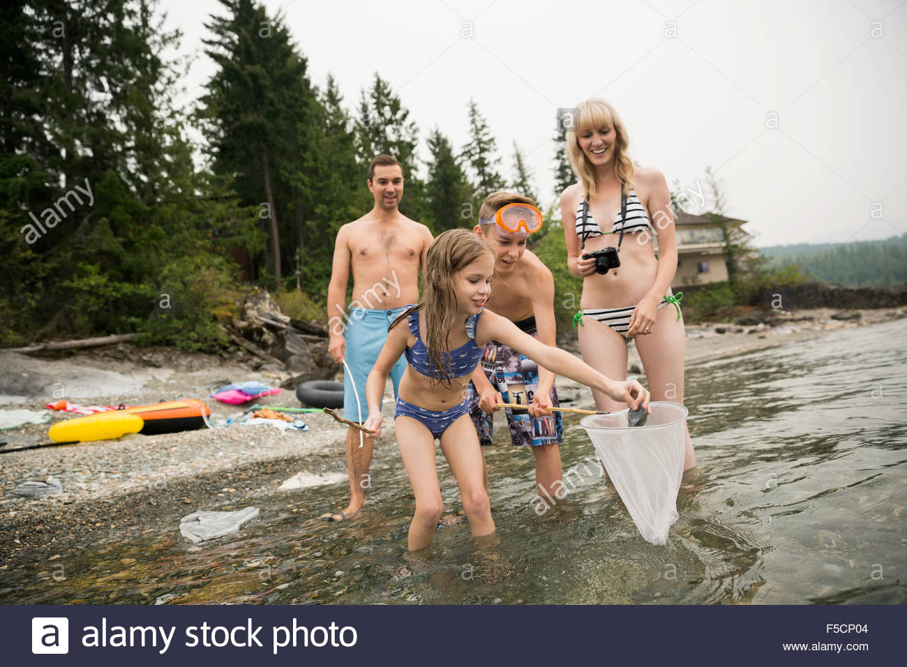 Family fishing with net in lake - Stock Image