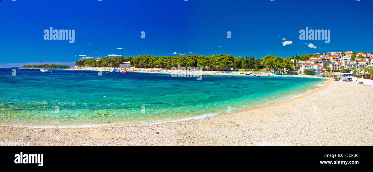 Paradise beach in Primosten panoramic view, Dalmatia, Croatia - Stock Image