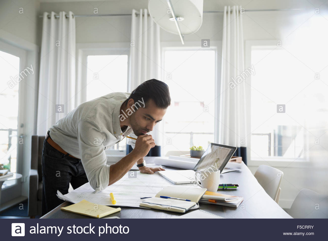 Focused architect working at dining table - Stock Image