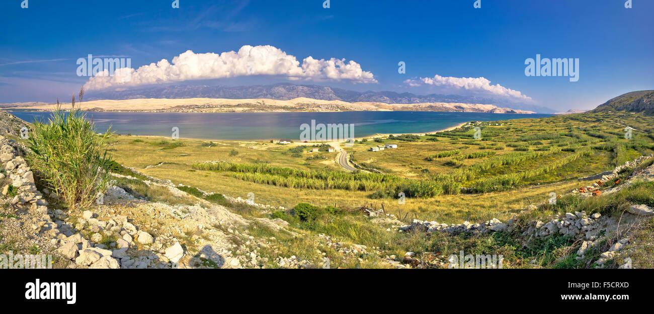Island of Pag Metajna bay panorama, Dalmatia, Croatia - Stock Image