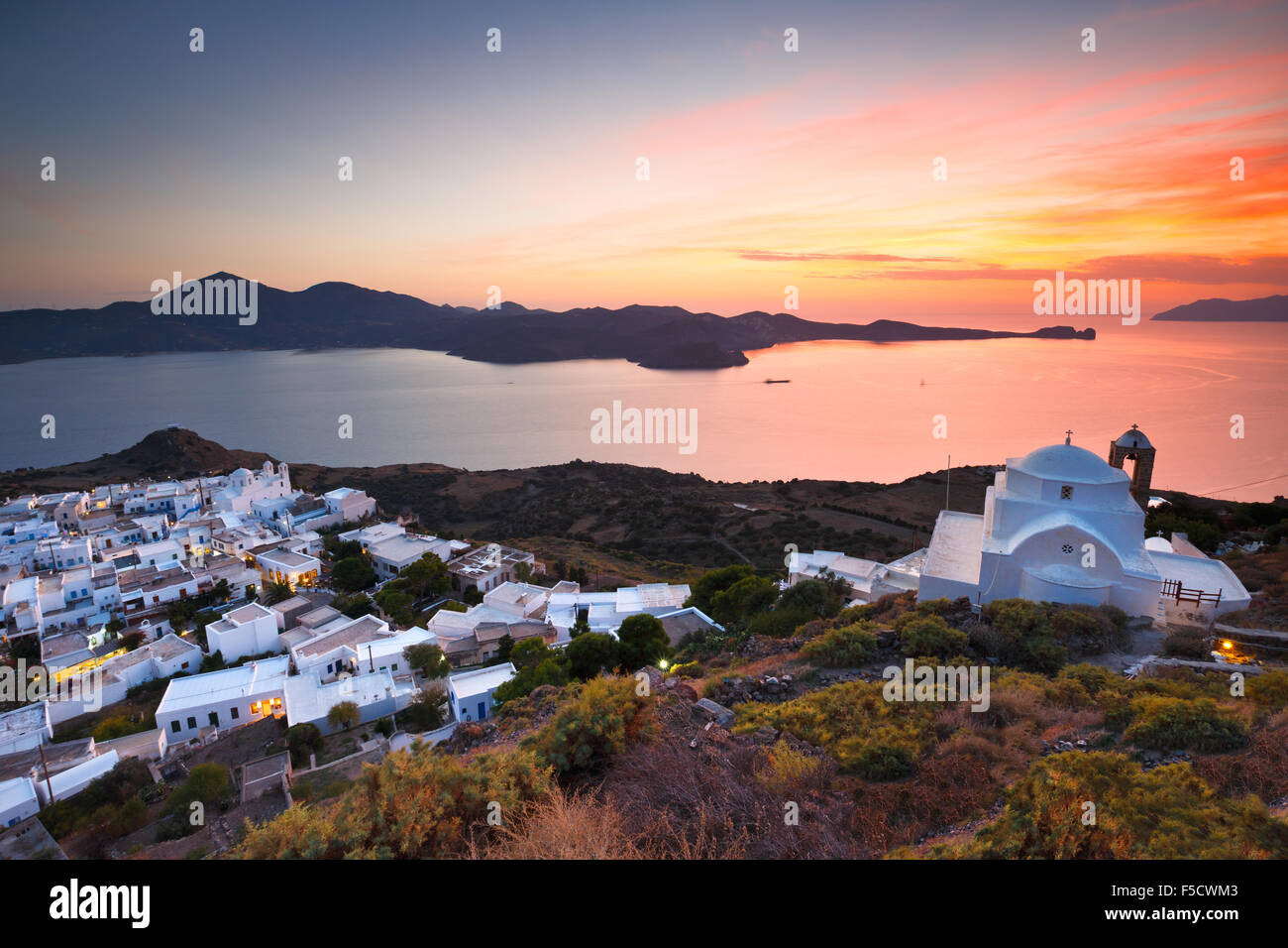 View of Milos bay and Plaka village, the capital of Milos island, Greece. - Stock Image