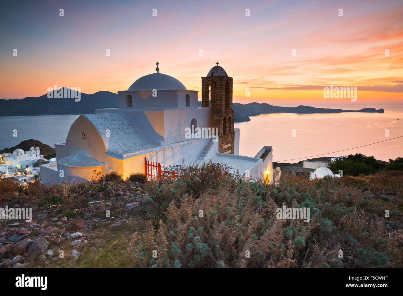 Church above Plaka village, Milos island, Greece. - Stock Image