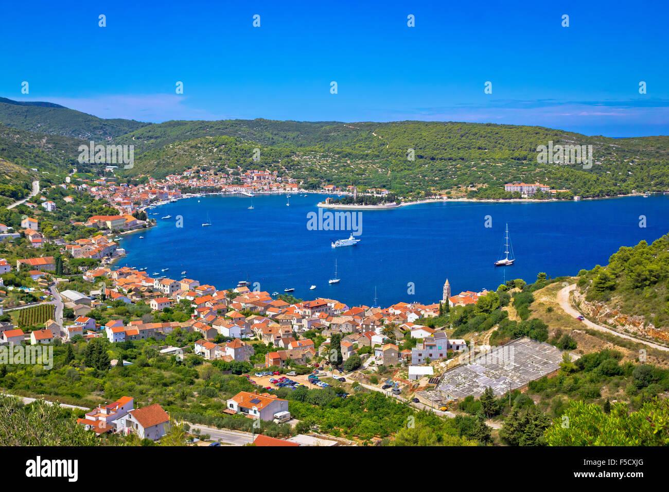 Island of Vis bay aerial view, Dalmatia, Croatia - Stock Image