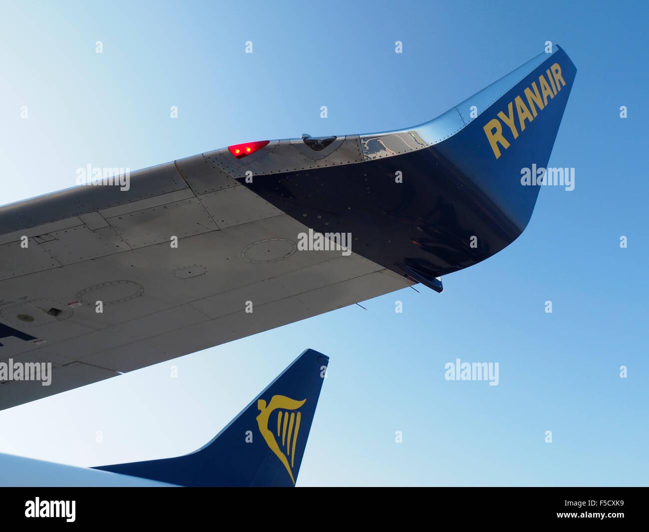 Ryanair Boeing 737 800 wing tip branding - Stock Image