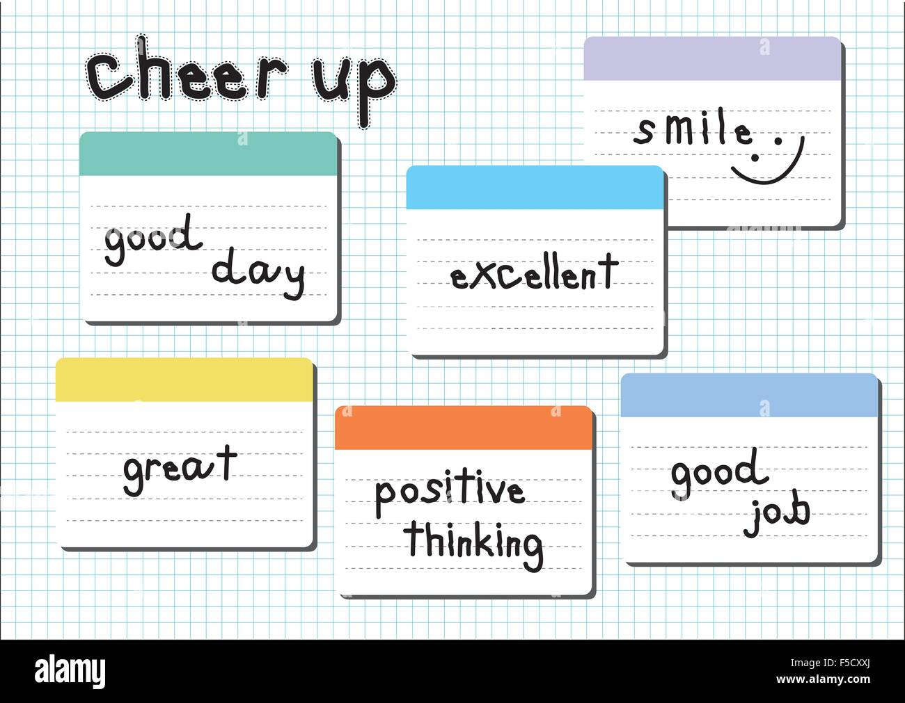 cheer up wording post it white graph paper sheet background - Stock Image