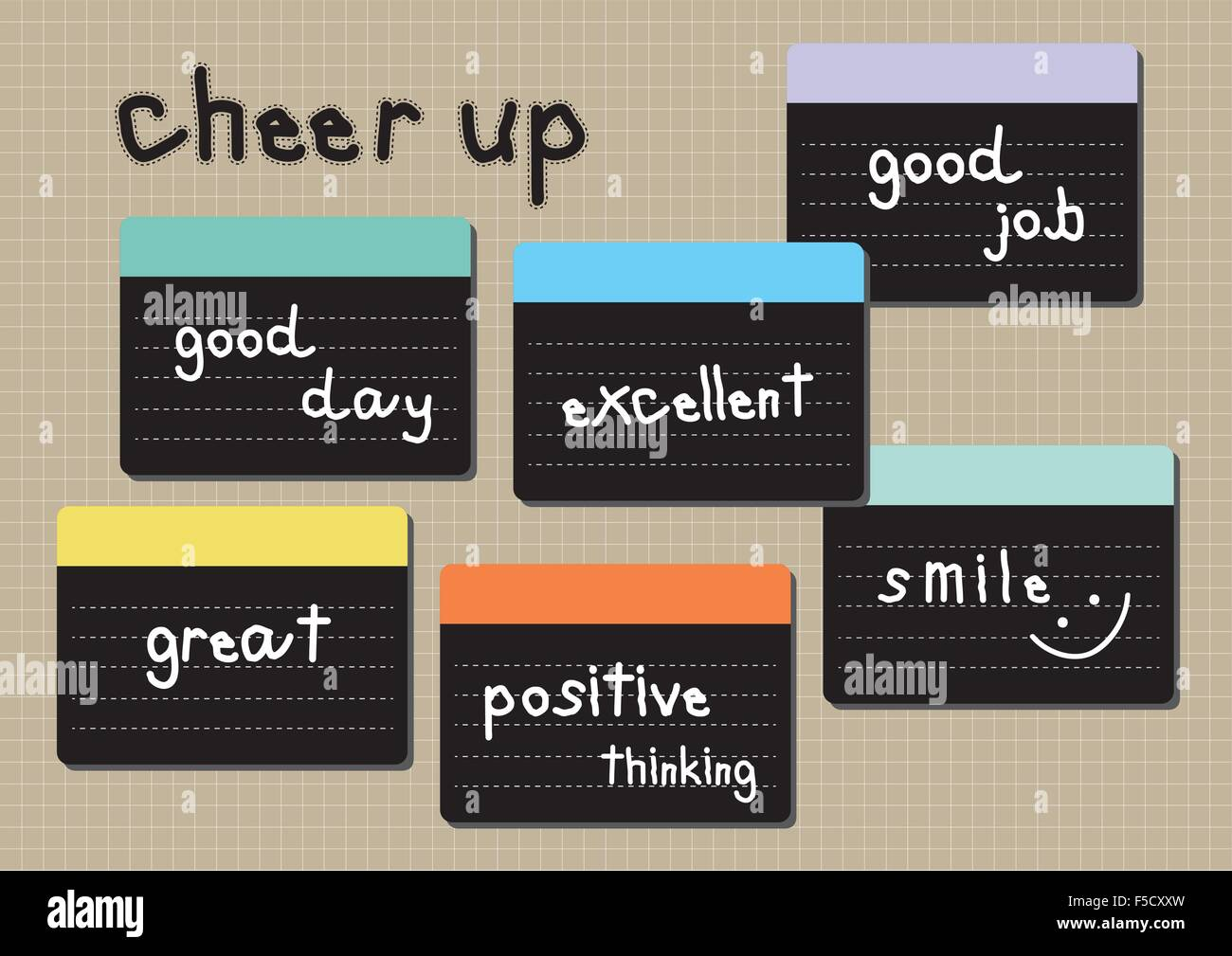 cheer up wording post it stick on notebook - Stock Image