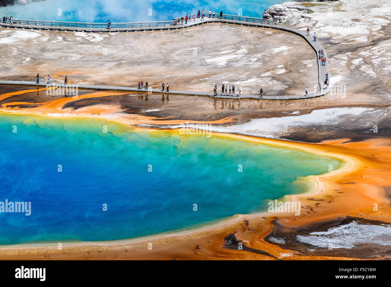 Grand Prismatic Spring, in Midway Geyser Basin. Yellowstone National Park, Wyoming, United States of America. - Stock Image