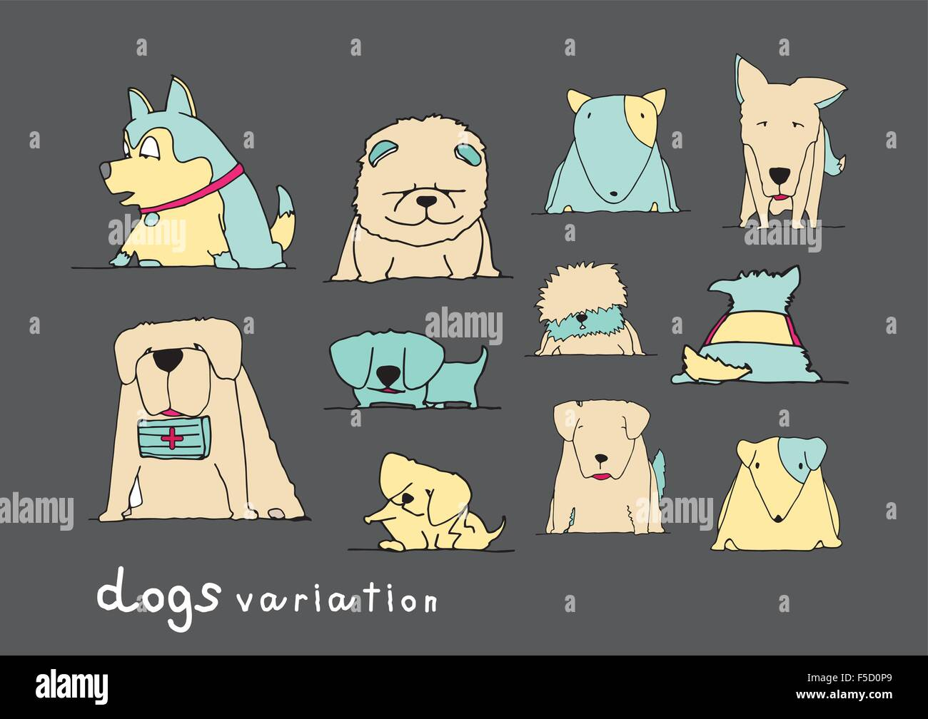 Dogs variation doodle pastel color on dark grey background - Stock Image
