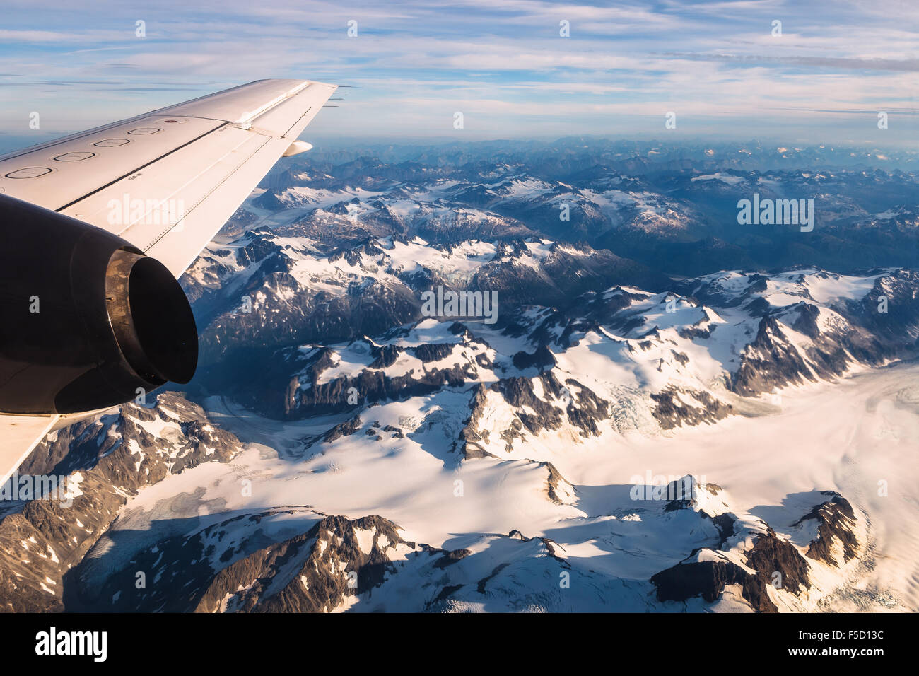 View of the mountains from a plane near Lake Clark National Park and Preserve, Kenai Peninsula Borough, Alaska, - Stock Image