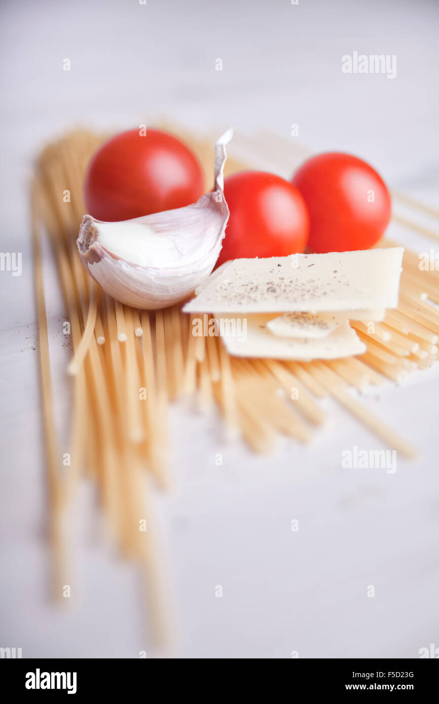 ingridients for an italian pasta meal - Stock Image