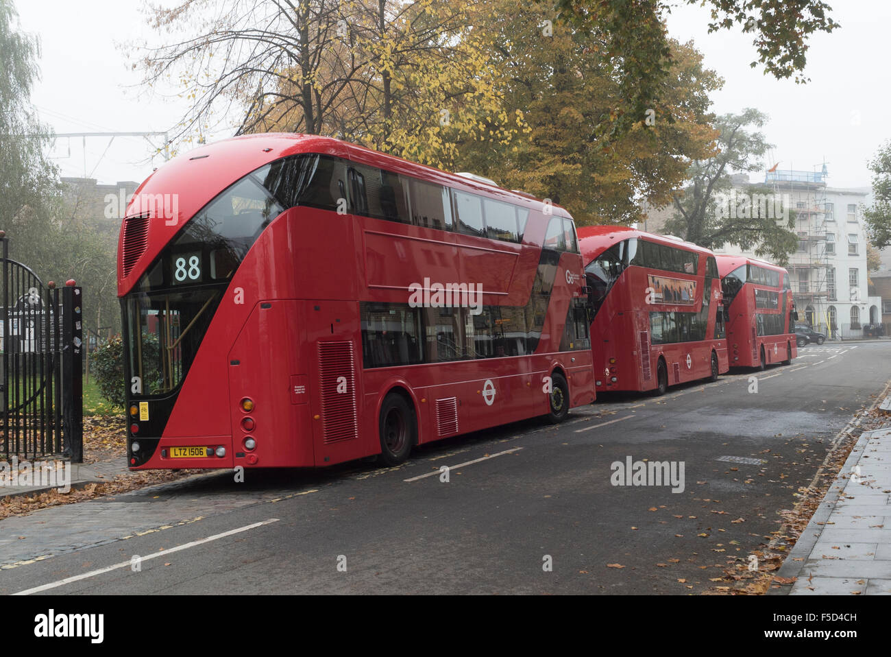 London new red Routemaster buses at a stand in Camden Town - Stock Image