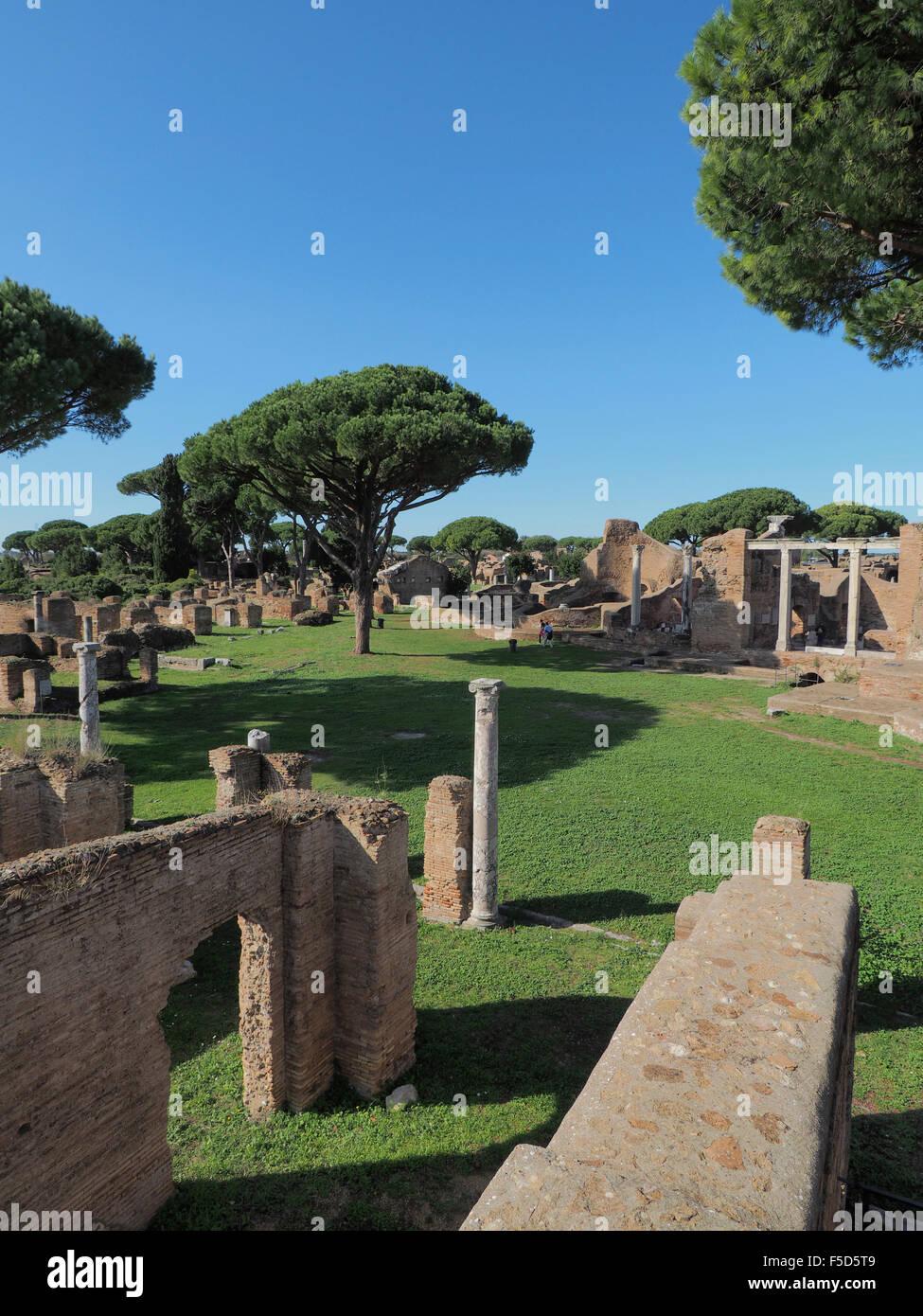 Ostia Antica excavation site, near Rome, Italy - Stock Image