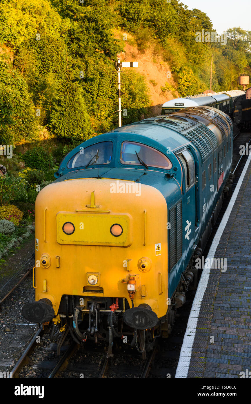 Class 55 Deltic 55019 at Bewdley Railway station on the Severn Valley Railway Stock Photo