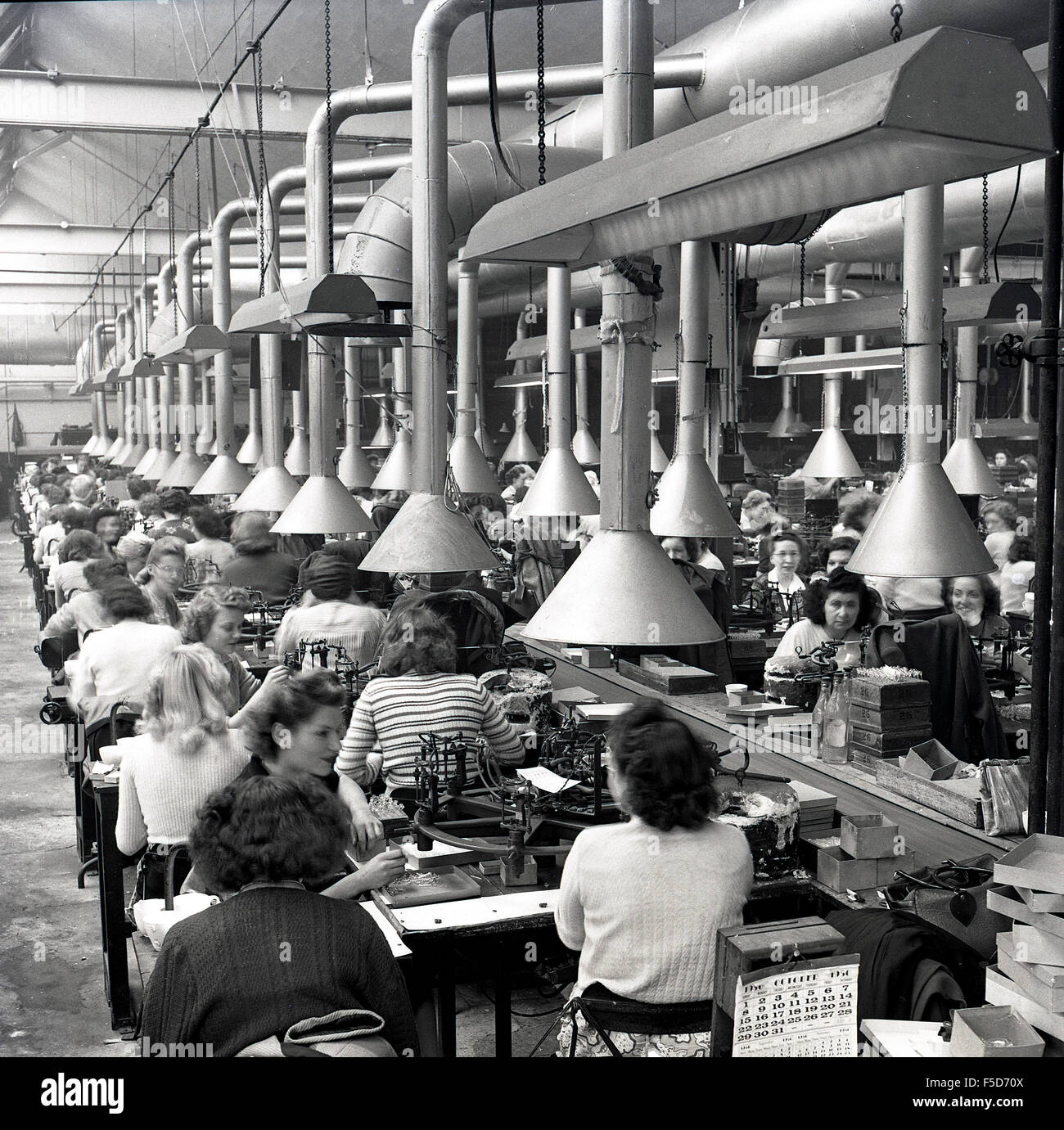 October 1950 And Historical View Of Rows Of Female At Work On A