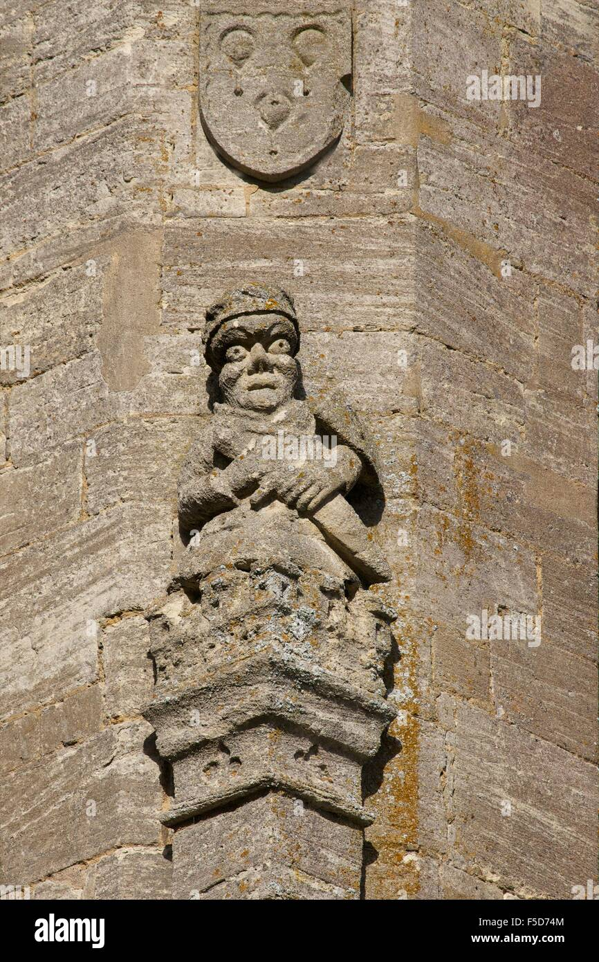 External carving, Church of St Mary the Virgin, Fairford, Cotswolds, Gloucestershire, England, UK, GB, Europe - Stock Image