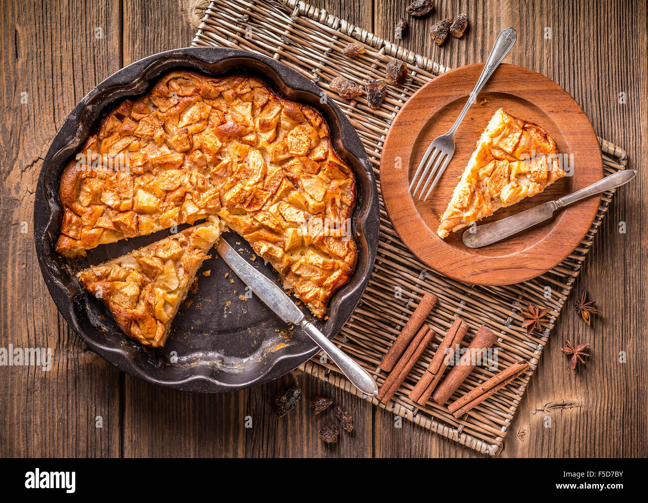 Top view of homemade apple pie, sliced - Stock Image