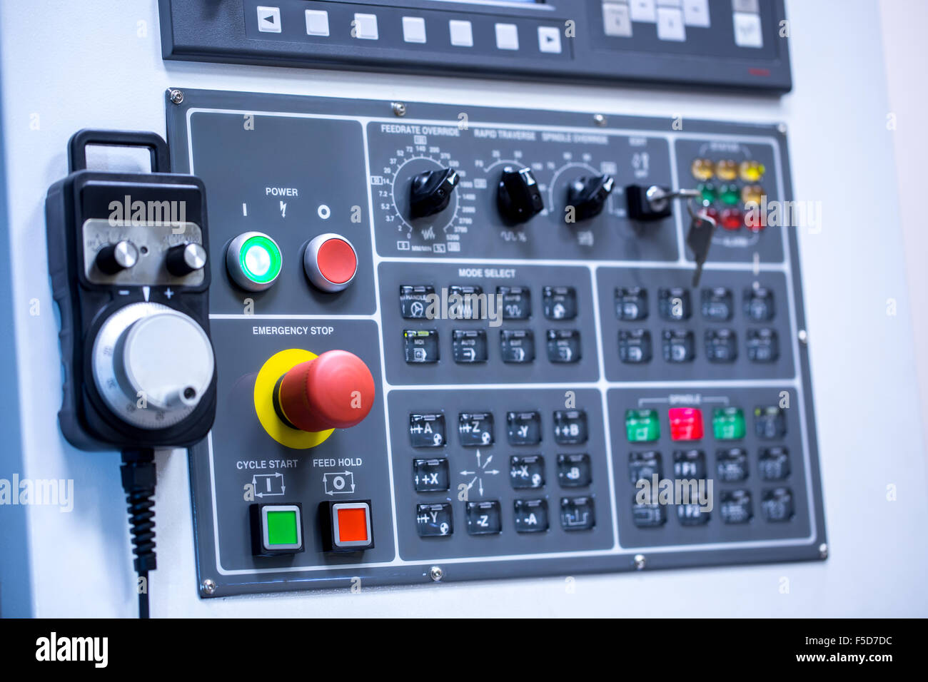 Switches on control panel of production machine Stock Photo ...