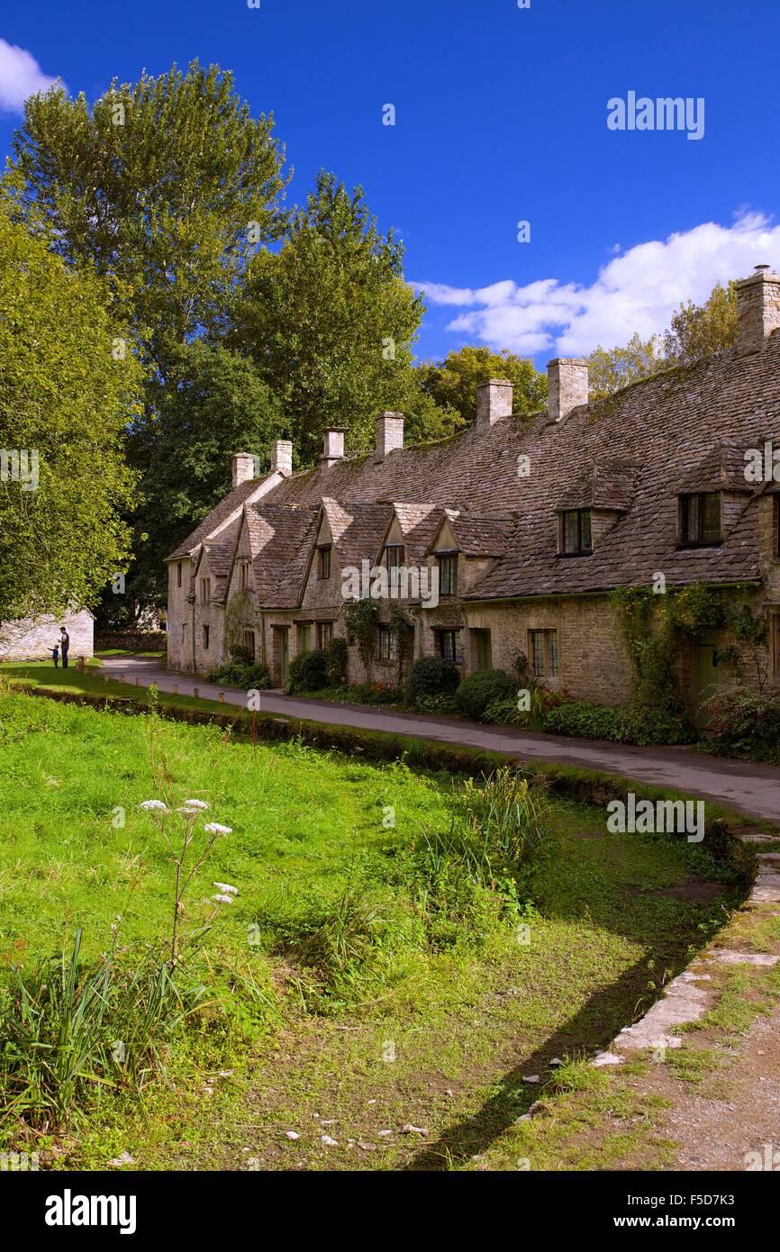 Arlington Row, Bibury, Cotswolds, Gloucestershire, England, UK, GB, Europe - Stock Image