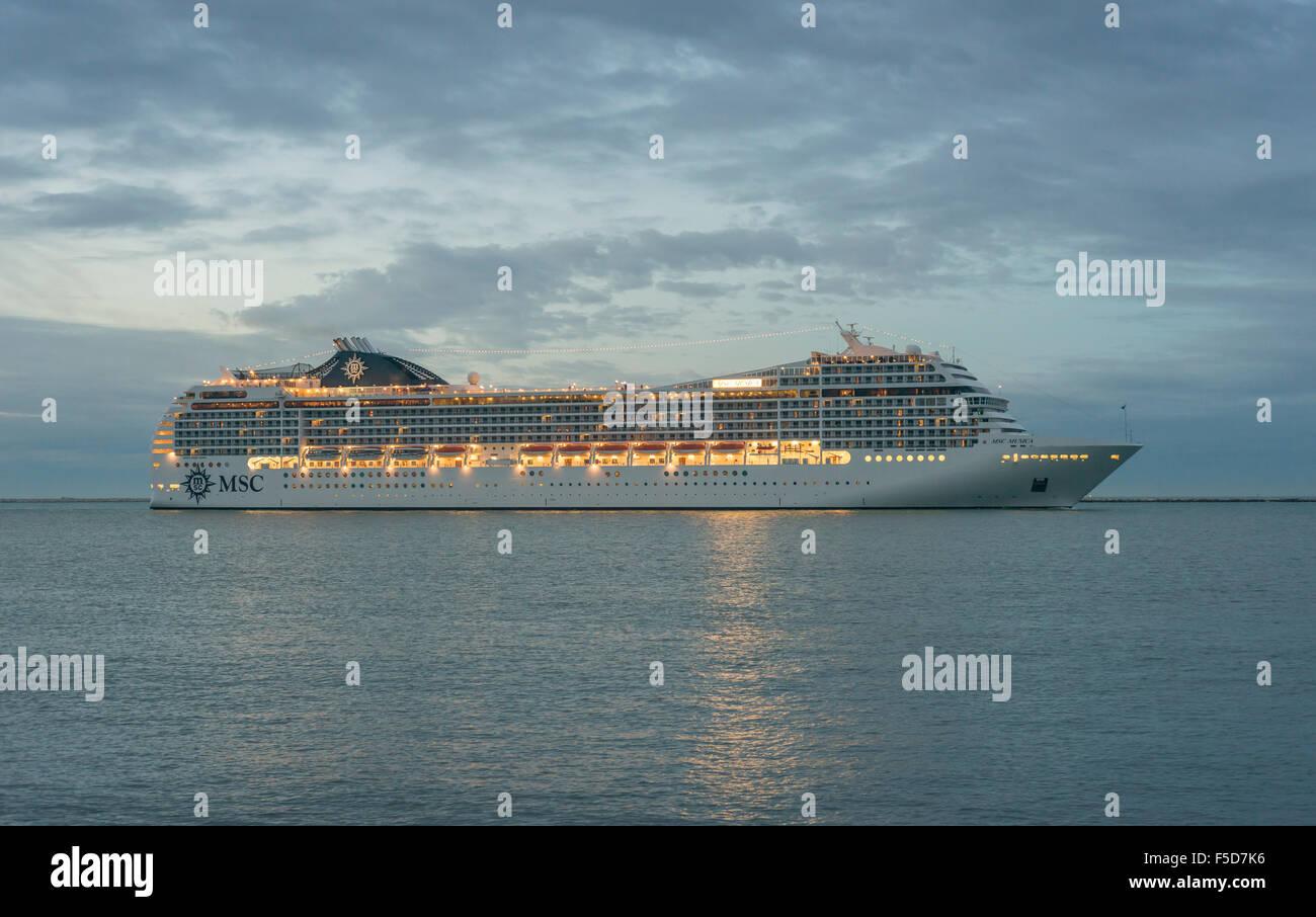 Cruise ship MSC MUSICA, morning light, Venetian Lagoon, Veneto, Italy - Stock Image