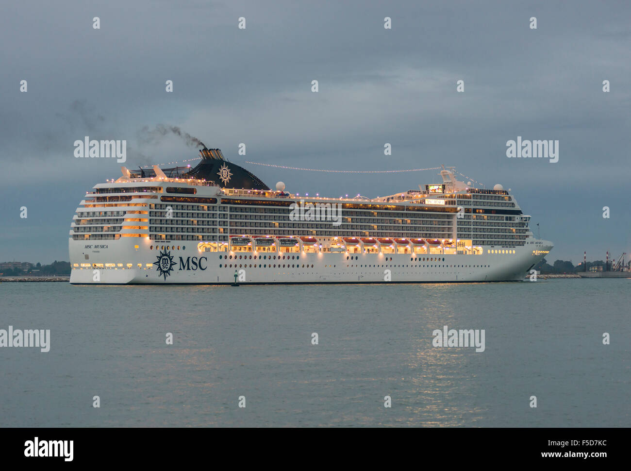 Cruise ship MSC MUSICA, morning light, Venetian Lagoon, Veneto, Italy Stock Photo