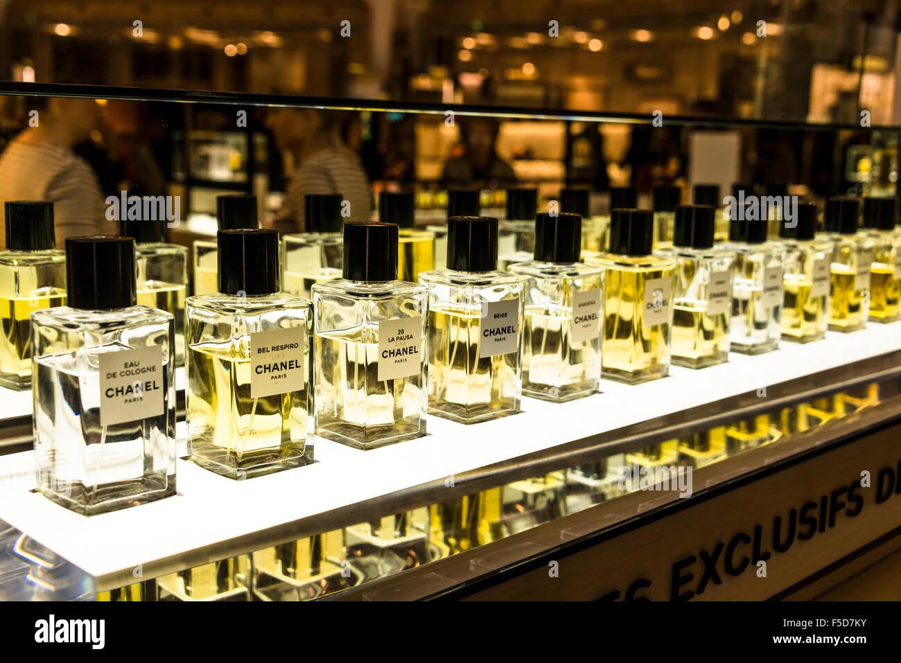 Perfume, Chanel perfume bottles on display for sale, Galeries Lafayette, Paris, Ile-de-France, France - Stock Image