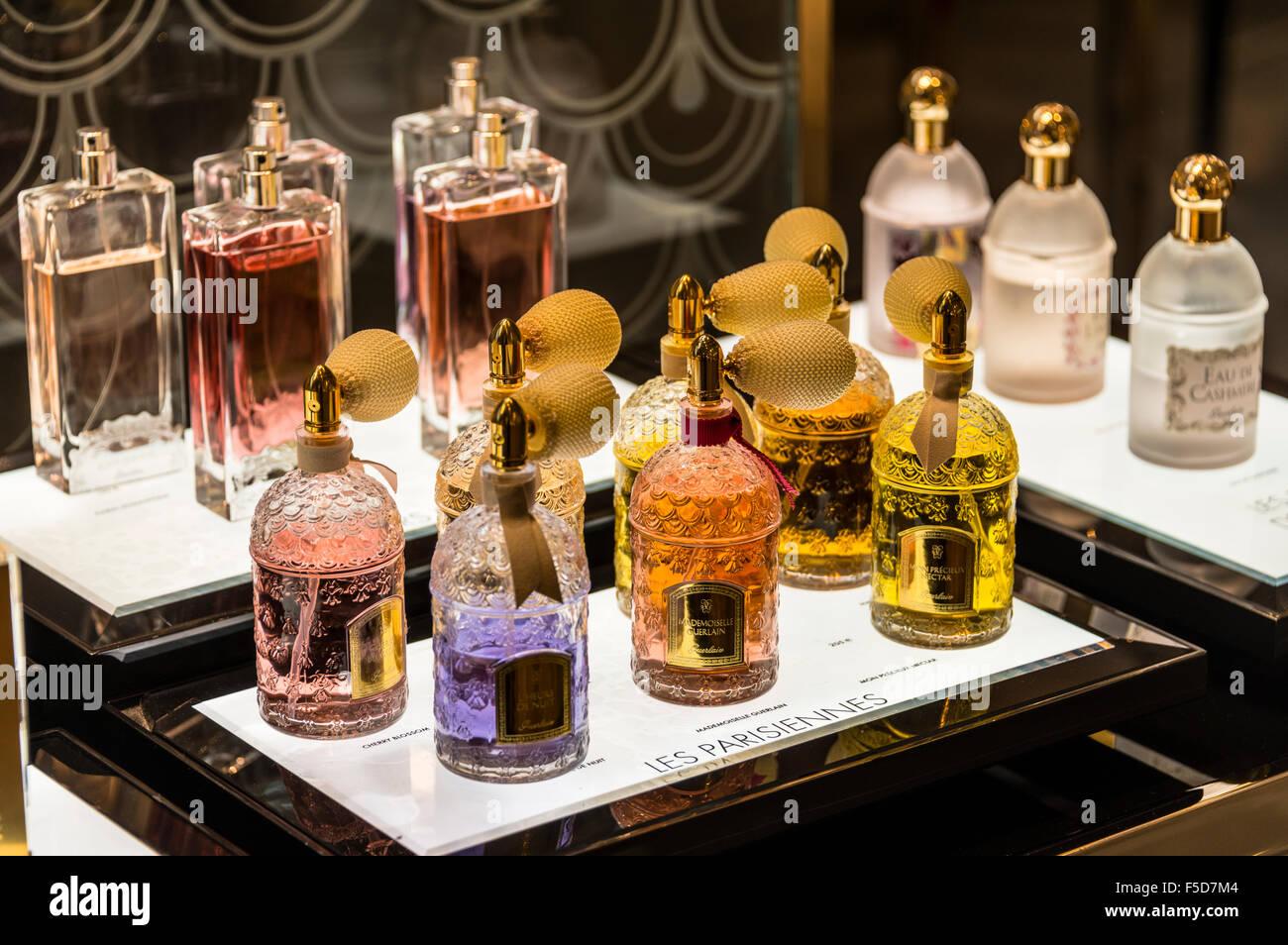 Perfume bottles on display for sale, Galeries Lafayette, Paris, Ile-de-France, France - Stock Image
