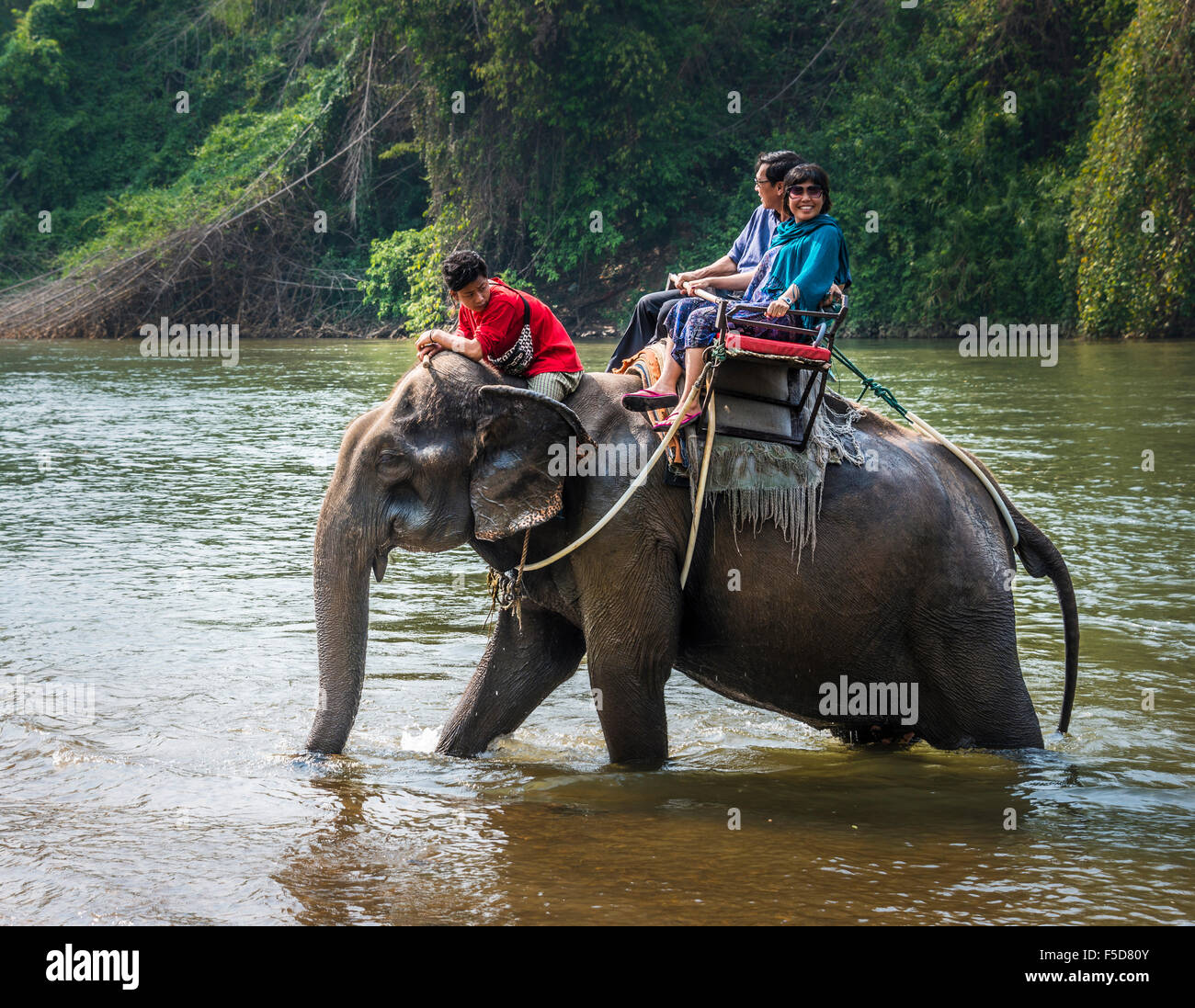 Two tourists riding elephant in water with mahout , Kanchanaburi Province, Central Thailand, Thailand - Stock Image