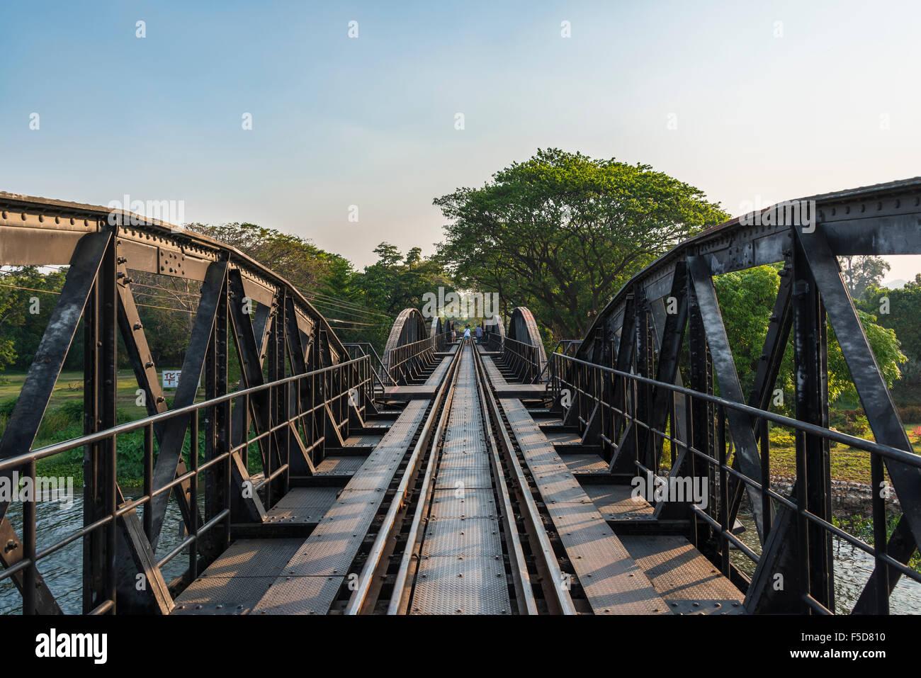 Historical River Kwai Bridge, route from Thailand to Burma, Death Railway, Kanchanaburi Province, Central Thailand, - Stock Image