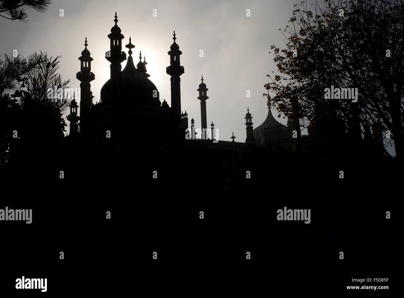 Brighton Royal Pavilion in silhouette, early morning, Brighton, UK Stock Photo