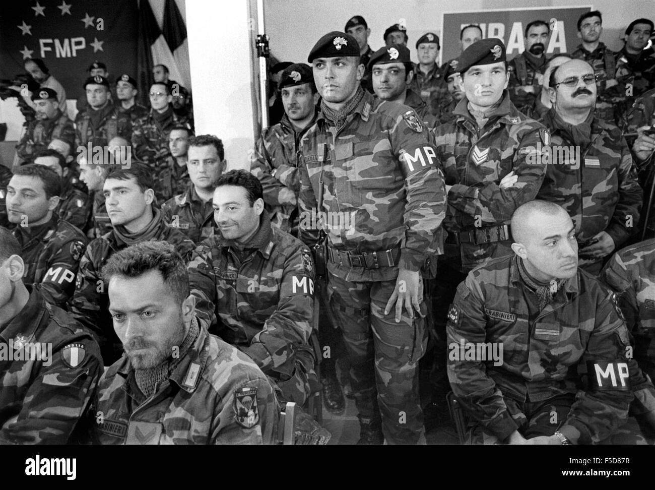 Albania, operation Alba of  Italian Armed Forces after the civil war of spring 1997, soldiers in their barracks - Stock Image