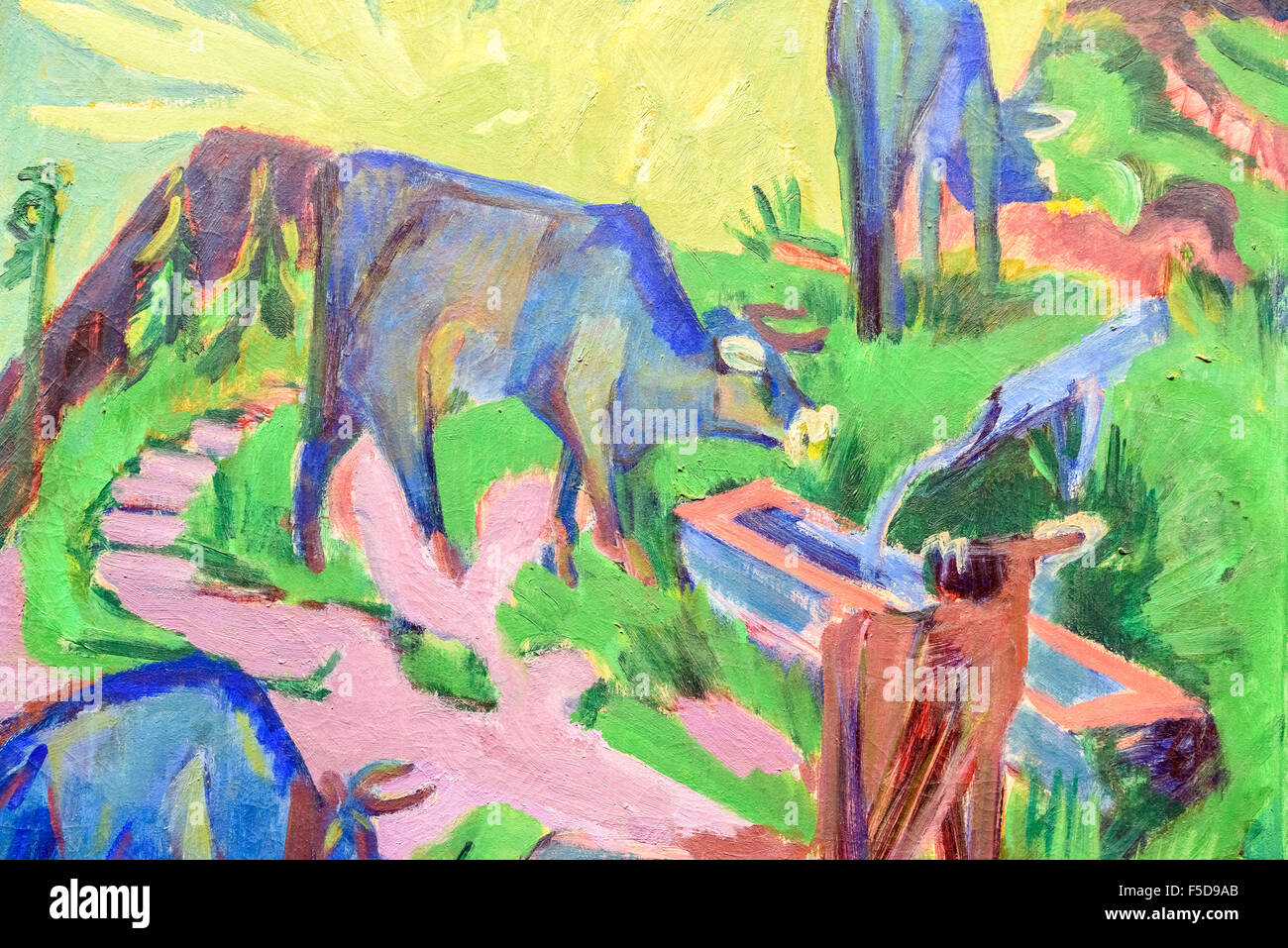 'Cattle At Sunset' By Ernst Ludwig Kirchner - Stock Image