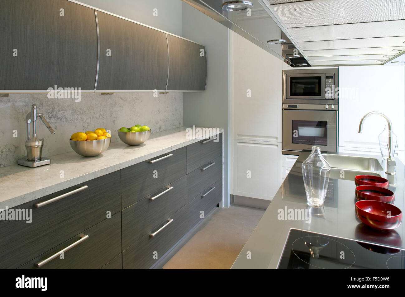 View Of A Domestic Modern Kitchen With Cabinets Drawers