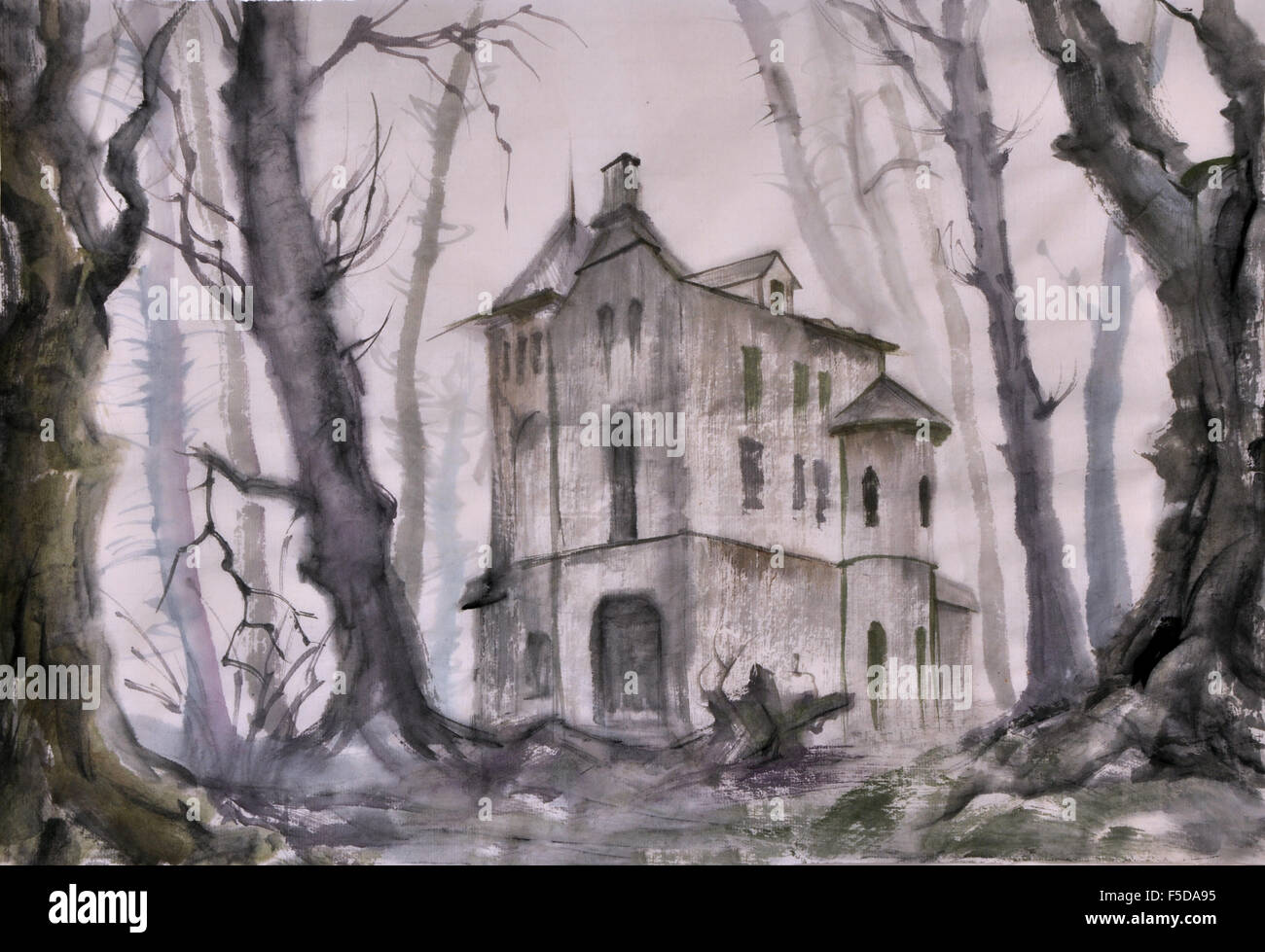 Haunted castle in the autumn bare tree forest, original watercolor painting. - Stock Image