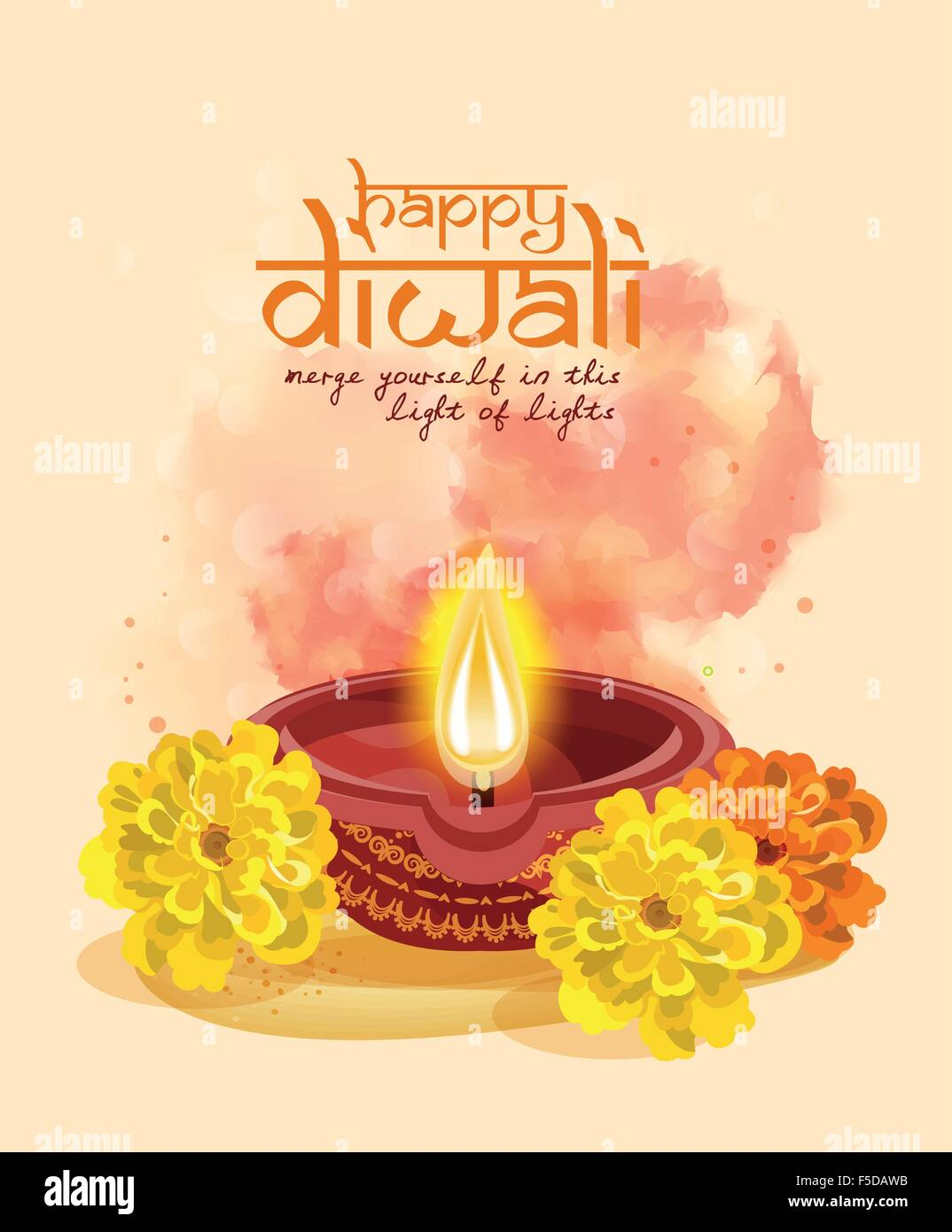 Vector Greeting Card For Hindu Community Festival Diwali Stock