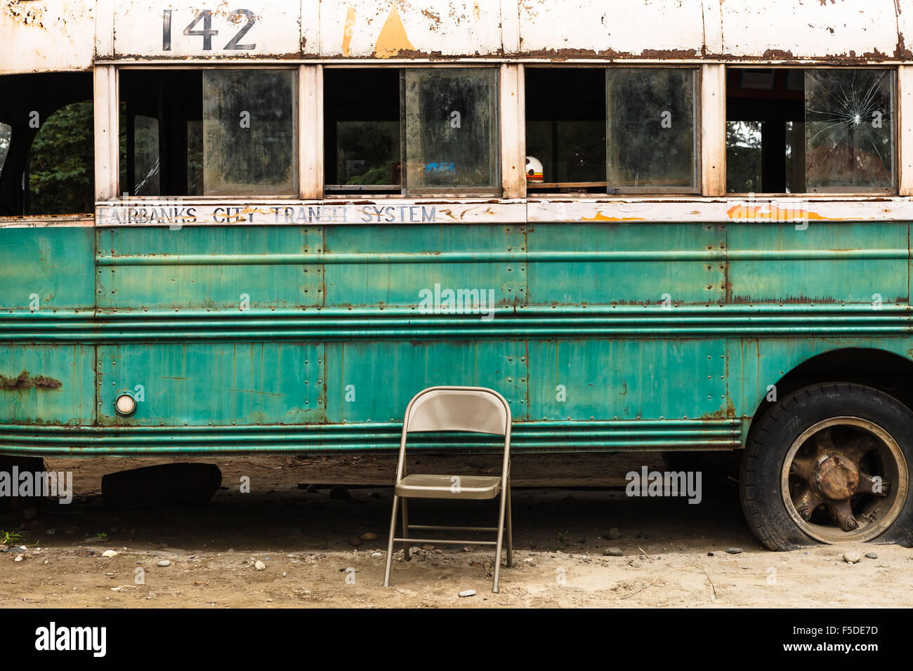 The famous Bus 142 where Christopher McCandless was found dead, by the  Stampede Trail, near Denali National Park, Alaska, USA.