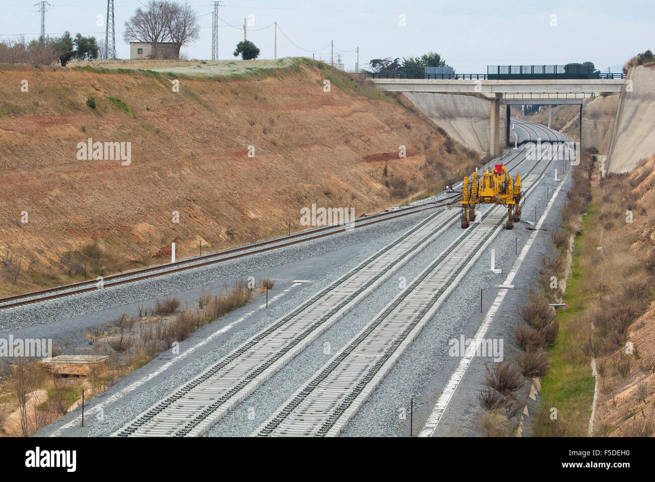 Railway on construction, gravel and railway sleepers - Stock Image