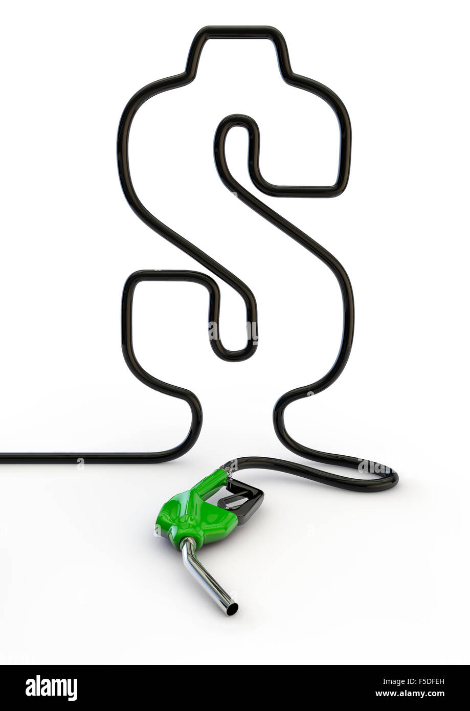 Dollar hose / 3D render of petrol hose forming dollar symbol - Stock Image