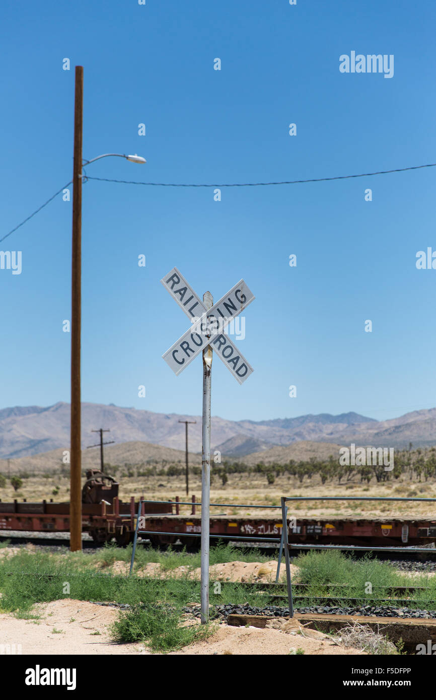 Railroad crossing sign near Kelso - Stock Image