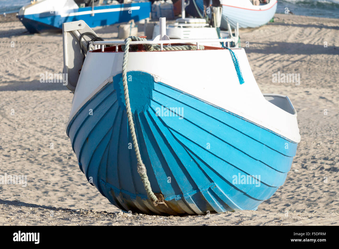 Fishing boat on the beach in Denmark Stock Photo