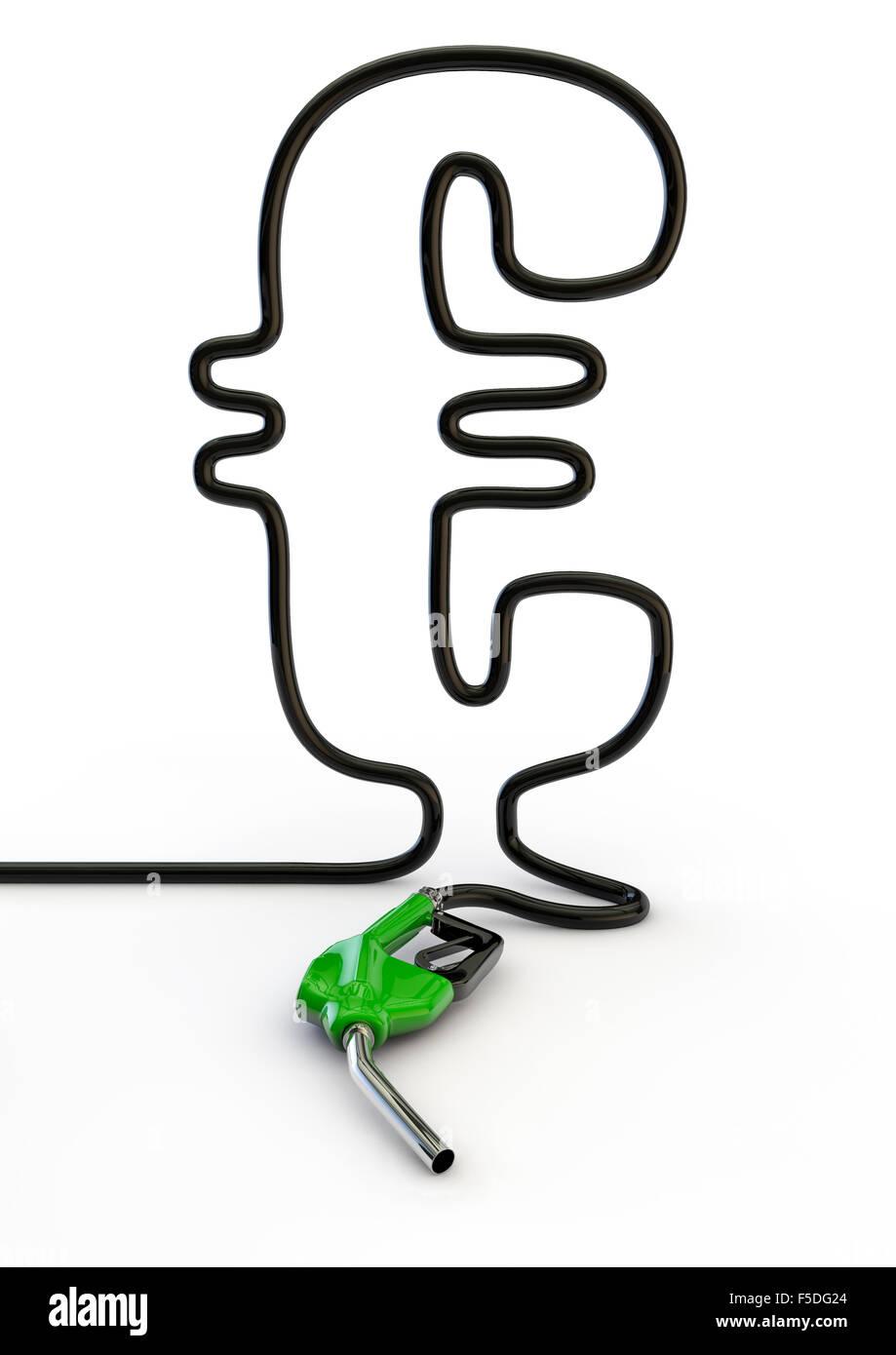 Euro hose / 3D render of petrol hose forming euro symbol - Stock Image