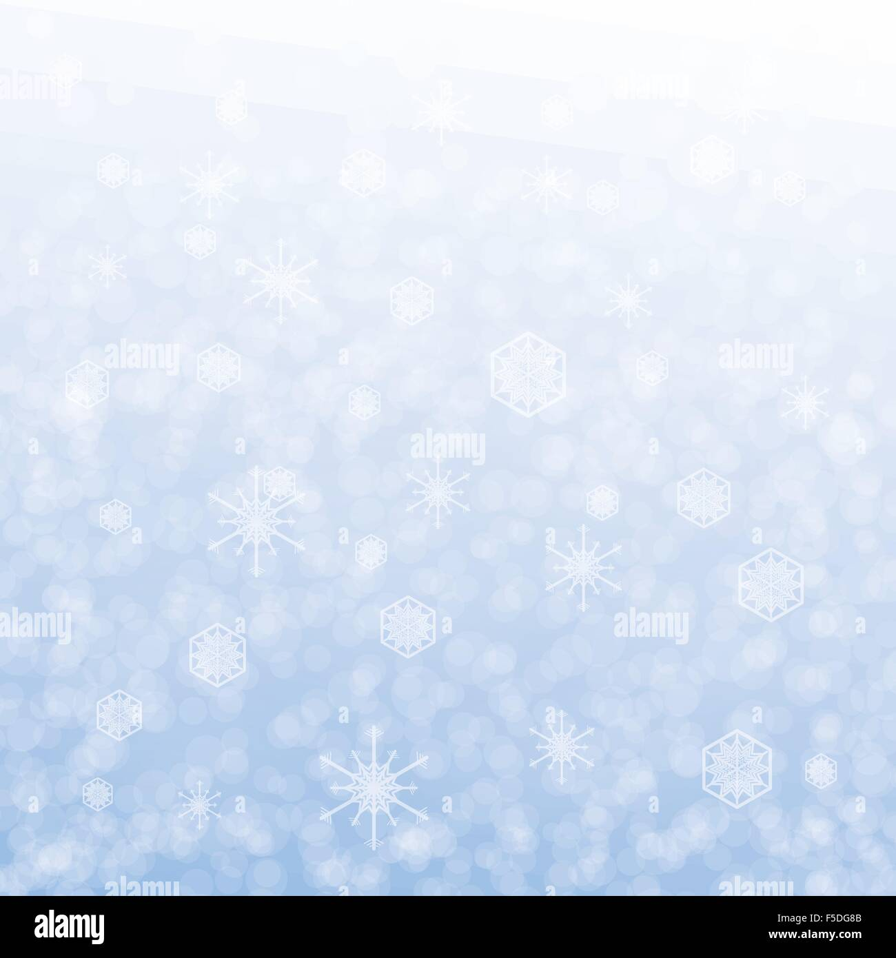 Christmas card design with snowflake on blue background - Stock Image