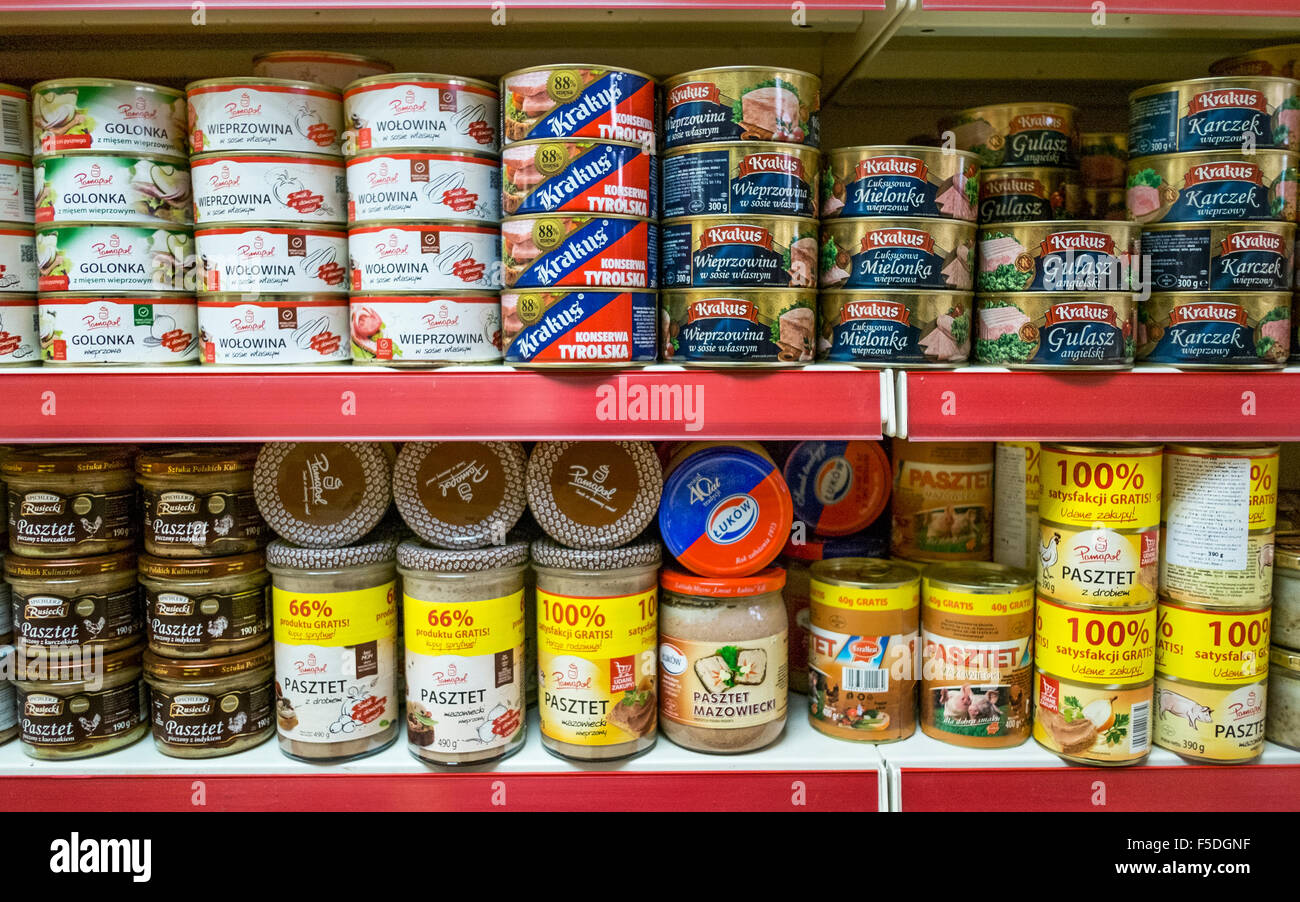Selection of Polish supermarket produce, foods & household packaged goods on the shelves grocery store stocking - Stock Image